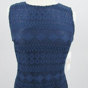 Sharagano lace detailed navy blue dress